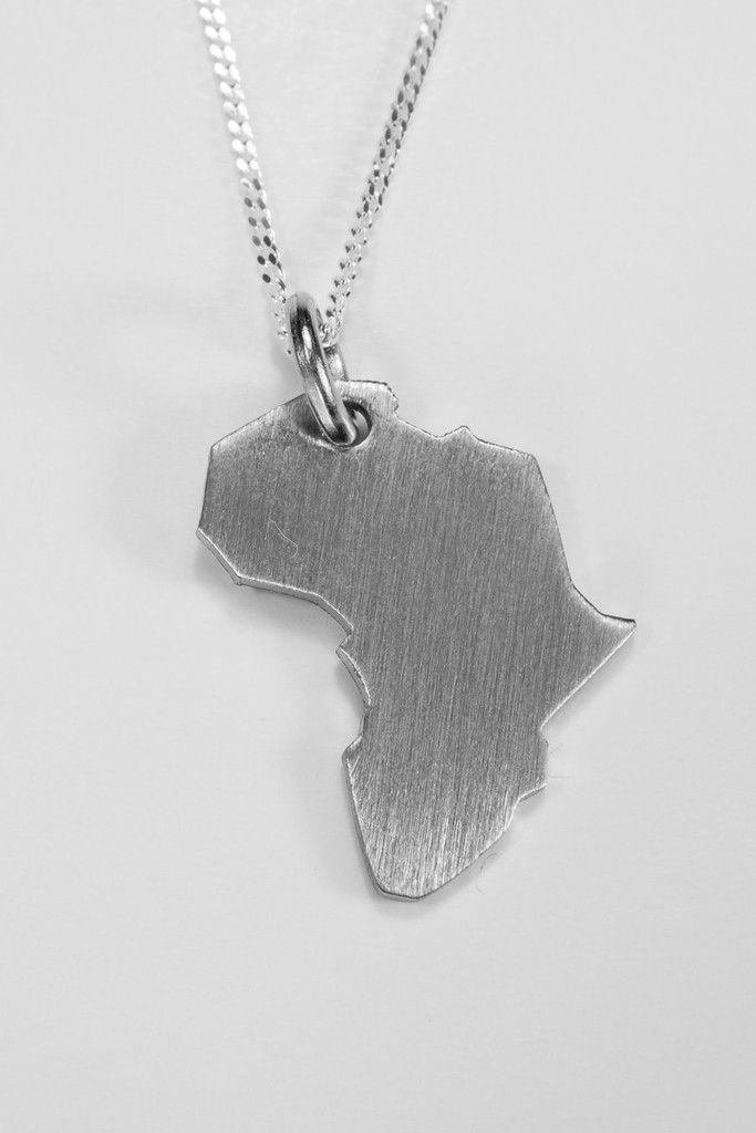 Stainless Steel Large Africa Pendant | African Design |