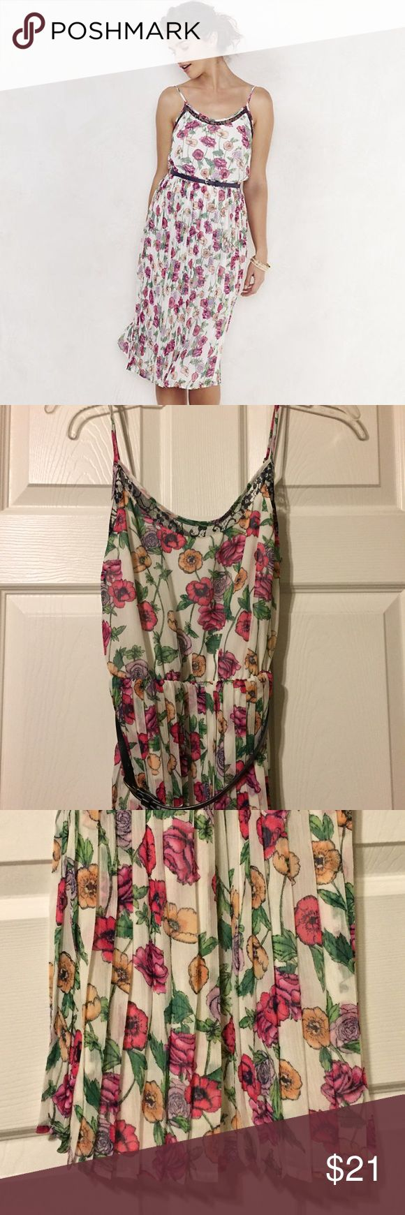 New Lauren Conrad LC Pleated Midi Dress Brand new with tags. Adjustable straps. Belted. Floral print. Adorable! LC Lauren Conrad Dresses Midi