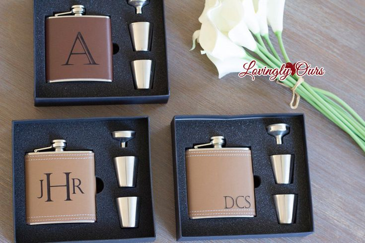 Personalized Groomsmen Flask as Groomsmen Gifts Leather Hip Flask Gift Set  -  Engraved with Name, Monogram or Initials Wedding Party Gift by LovinglyOurs on Etsy https://www.etsy.com/listing/240901213/personalized-groomsmen-flask-as