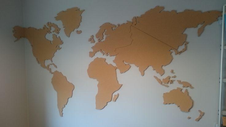 Wereldkaart van kurk XXXL 200 x 107 cm.