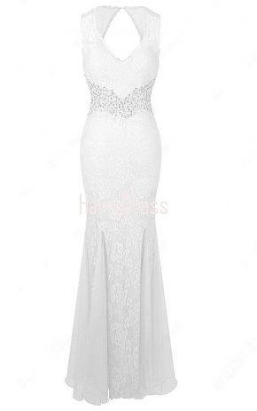 Trumpet Mermaid V Neck Lace Tulle Floor Length Beading White Open Back Prom Dress
