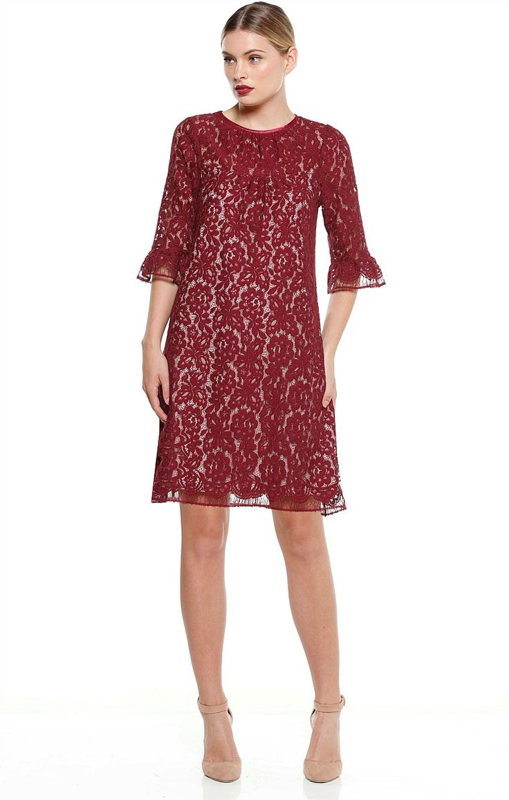 CIPOLLA ABOVE KNEE LACE BELL SLEEVE SHIFT DRESS IN BURGUNDY