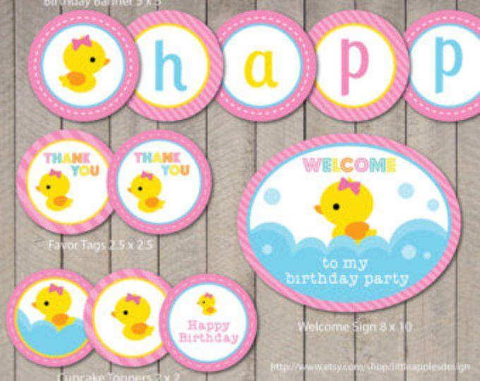 Rubber Duck Birthday / Rubber Duck Invitation / Pink Rubber Duck Party / Rubber Duck Party Printable / Rubber Duck Printable / Custom DIY