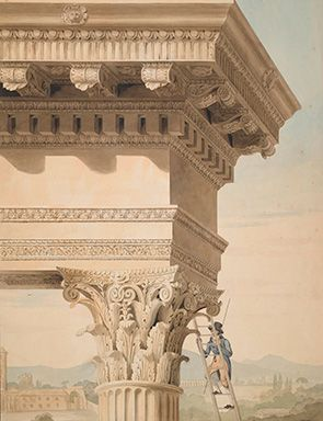 John Soane. Drawing showing a Student measuring a Capital of the Temple of Jupiter Stator (Castor and Pollux), Rome, pencil, pen and watercolour, 1010 x 730 mm © Sir John Soane's Museum.