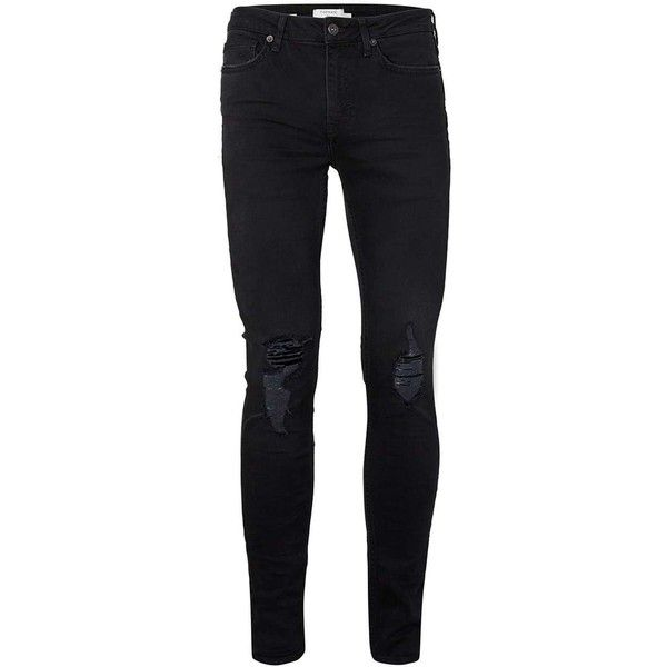 TOPMAN Washed Black Ripped Knee Spray On Skinny Jeans ($47) ❤ liked on Polyvore featuring men's fashion, men's clothing, men's jeans, pants, bottoms, men, mens pants, black, mens jeans and mens destroyed jeans
