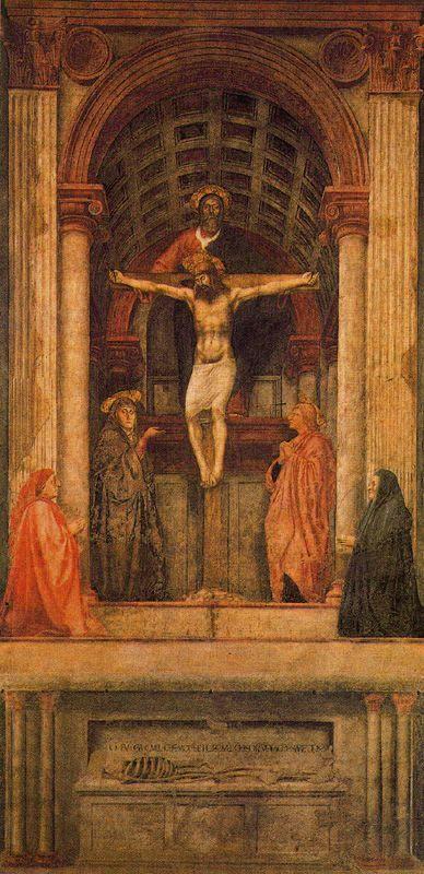 La Trinidad.  Obra de Masaccio realizada en el año 1425 y que pertenece al renacimiento.  Esta obra se despega de las demás por ser la primera en la que aparece el uso de la perspectiva para crear un espacio auténtico. Las pilastras, columnas, bóveda... disminuyen según estén más profundos.