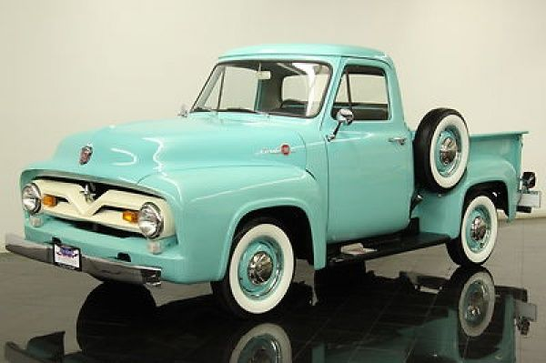 1955 Ford F100 Pickup - in the 1950's and 1960's there were many families who lived in the farmlands - and they all had a pickup truck as both a working vehicle and also a family transport. When I was in high school, many boy's who lived on farms, drove an old truck to school - None looking this clean and bright I can assure you.