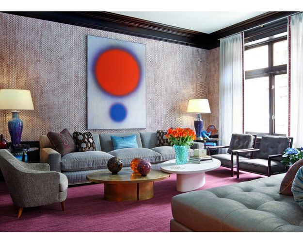 couches: Living Rooms, Idea, Pink Carpets, Living Spaces, Canvas Art, Colors, Interiors Design, Drake Design, Jamie Drake