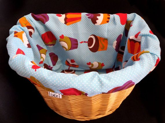 Bike BASKET LINER  cupcakes  by MrsDiDiCraftShop on Etsy