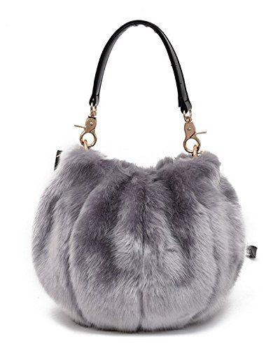 bc499a5ab063 GIANCO FERRO Women Round Faux Fur Handbag Winter Crossbody Bag Tote  Shoulder Bag