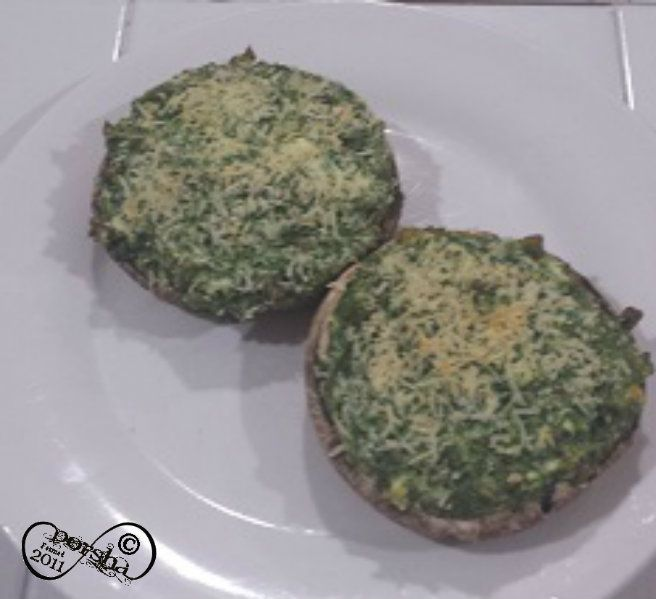 Cheese & Spinach Stuffed Mushroom Caps