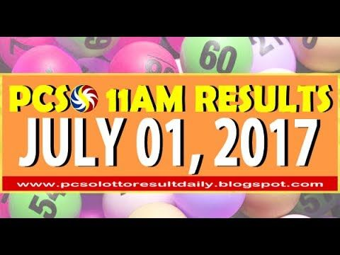 PCSO 11AM LOTTO RESULTS JULY 01, 2017 SWERTRES & EZ2 LOTTO)