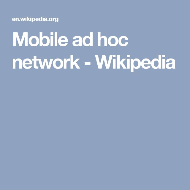 Mobile ad hoc network - Wikipedia
