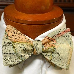 On the big day, sneak your favorite cities into cufflinks or bowties: | 27 Creative Ideas For A Travel-Themed Wedding