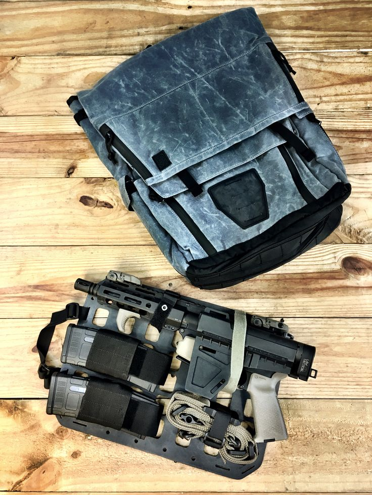 Grey Ghost Concealed Carry Pack in Waxed Canvas and Grey Man Tactical Rigid Insert Panel-MOLLE