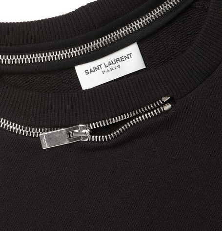 Idea: put zippers through holes in garments...  saint laurent // zipper sweatshirt