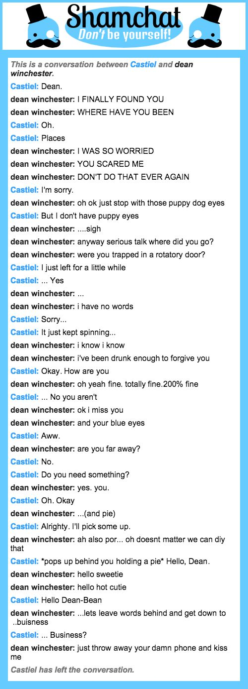 A conversation between dean winchester and Castiel