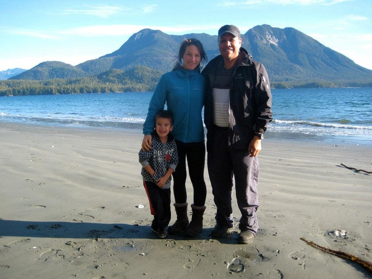 Nikki, Qaamina and little Jeremy hanging out on Flores Island, here in Clayoquot Sound. Just a short boat ride from the resort and part of our keystone activity, Walk the Wildside. Nikki is one of your guides on the Wildside and Qaamina is your boat driver! Clayoquot Wilderness Resort. www.wildretreat.com