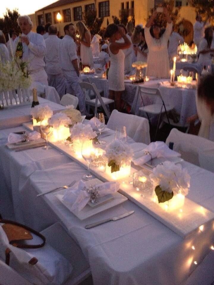 These homemade centerpieces by customer Terence really dress up the table at this pop up dinner party in San Diego! #fairylights #centerpiece #tabledecor