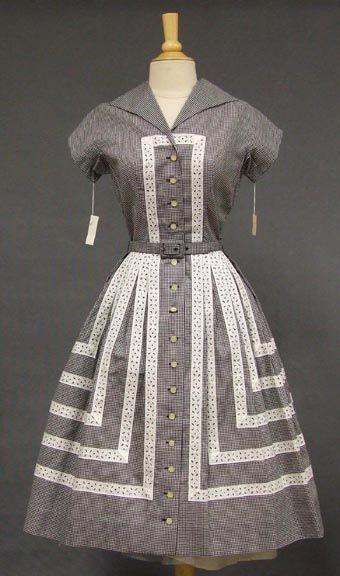 Herman Marcus Gingham 1950's Shirt Dress w/ Eyelet Trim