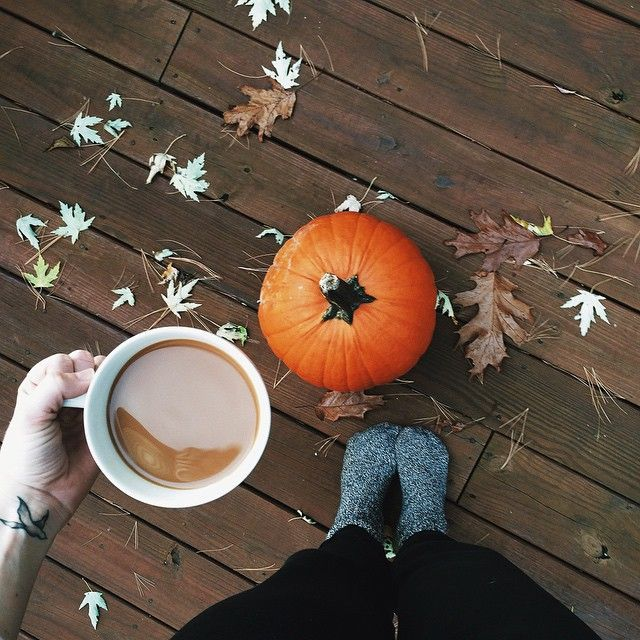 what better way to warm up in fall than with thick socks and pumpkin spice coffee?