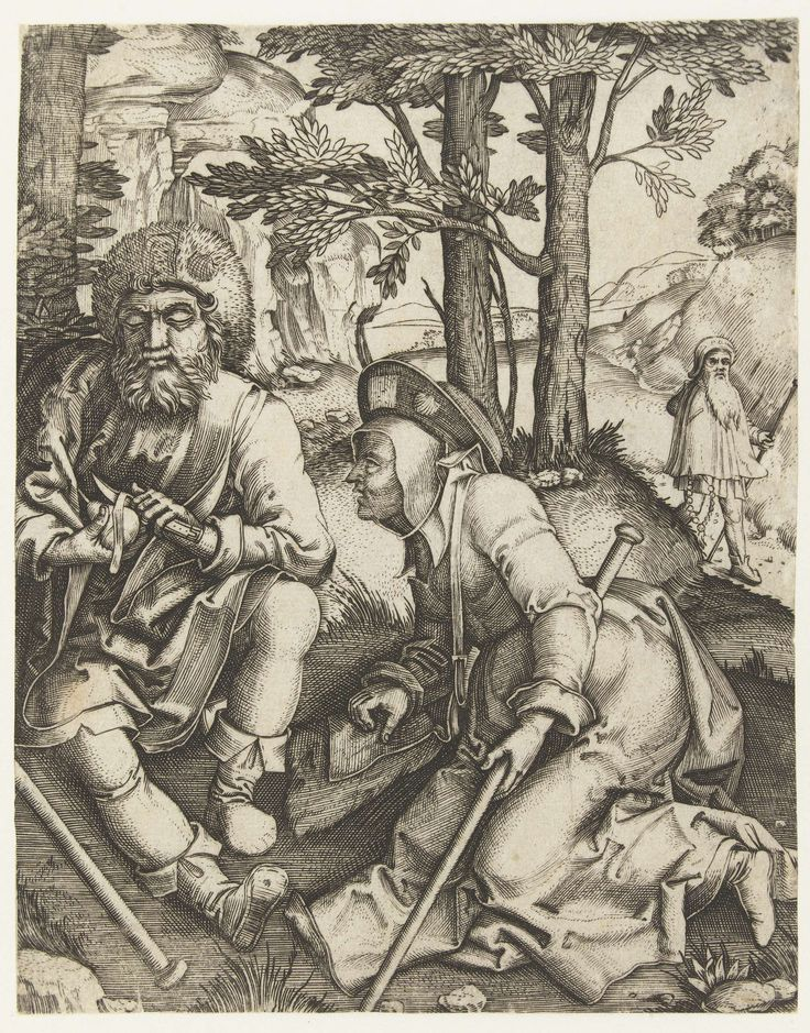 1506 - 1534 Marcantonio Raimondi, Lucas van Leyden, Three Pilgrims (Drie pelgrims)