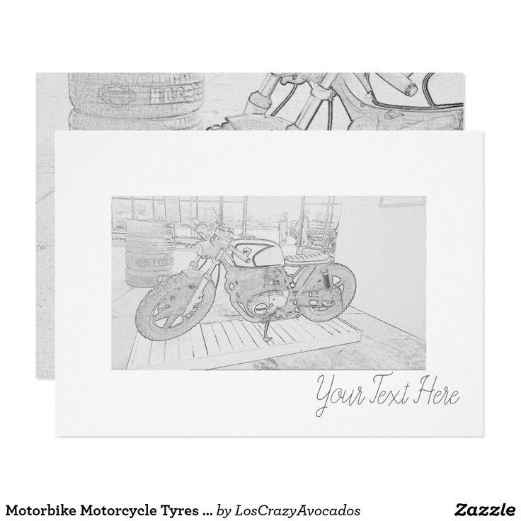 Motorbike Motorcycle Tyres Sketch Invitation Card