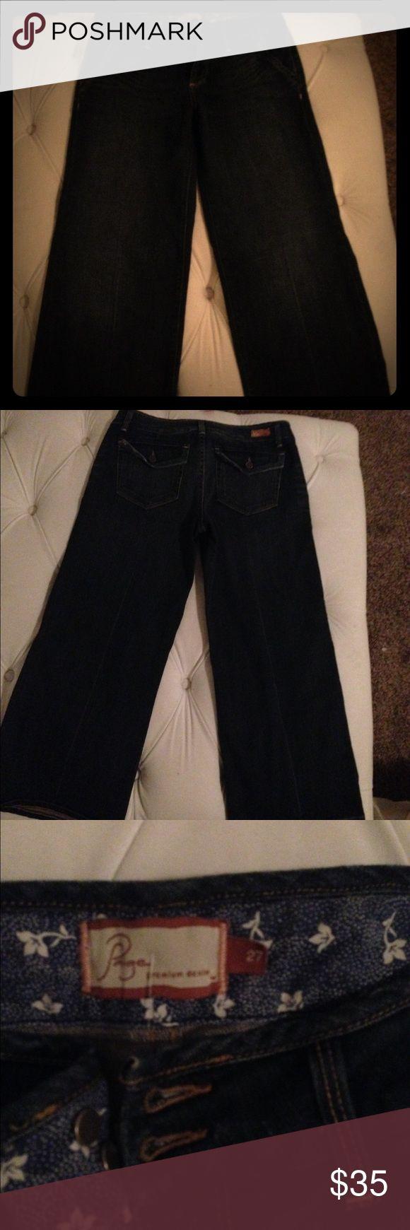 Paige Premium Denim capris 27 Paige premium denim Capri jeans. Wide flare leg, very cute. Button pockets on the back to accentuate curves. Size 27. Like new condition. Paige Jeans Jeans Flare & Wide Leg
