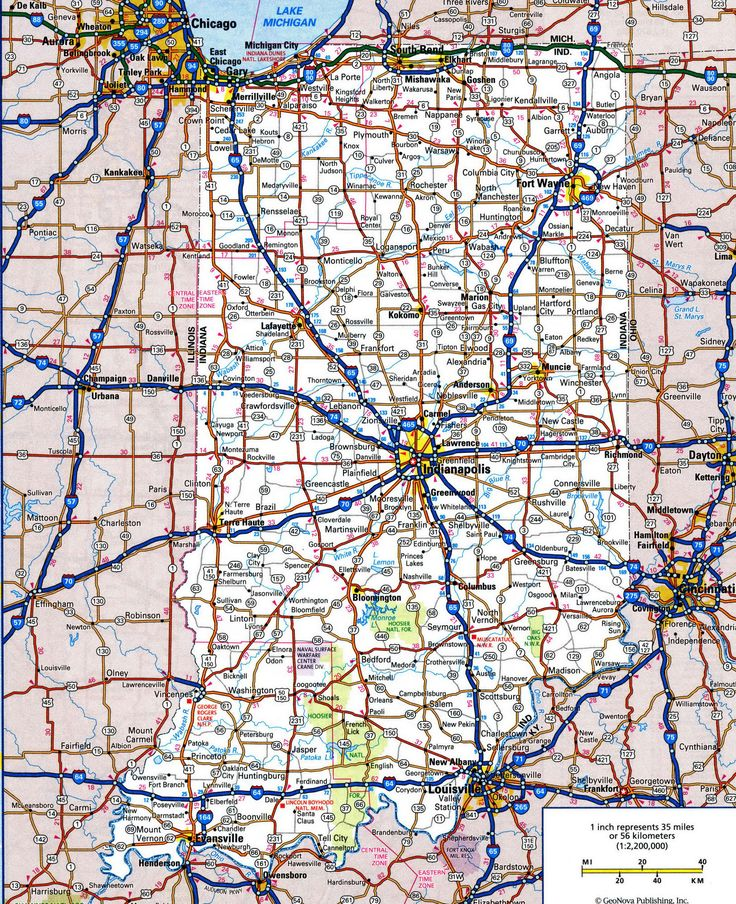 Road map of IndianaFree maps of US.