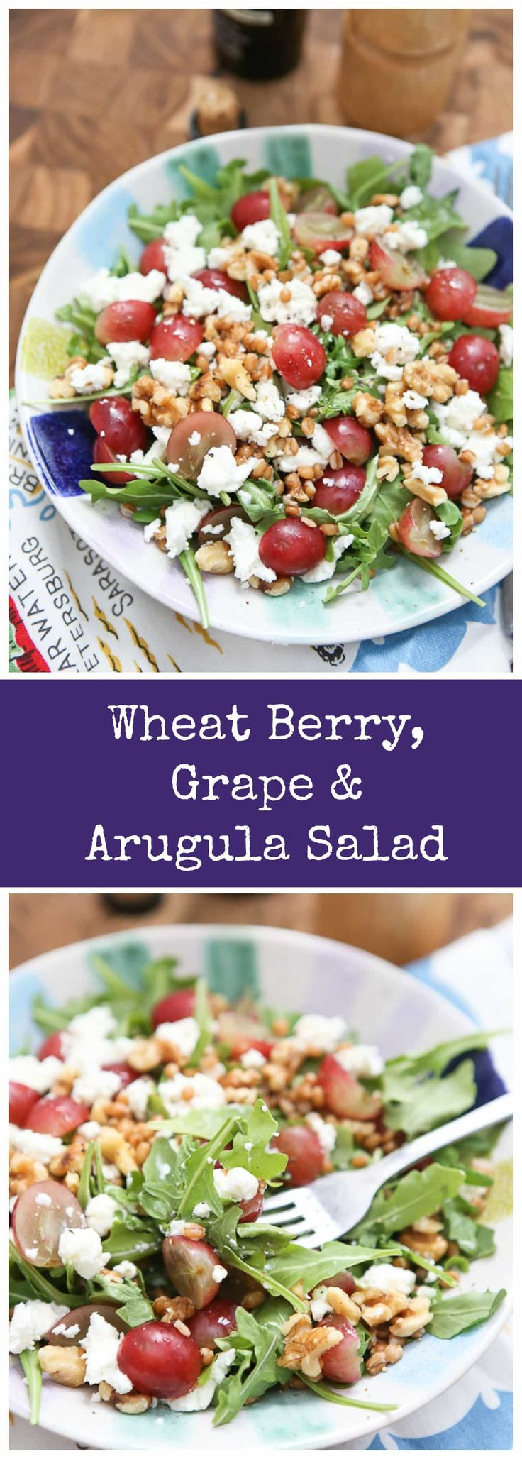 Packed with taste and nutrition, this Wheat Berry and Arugula Salad with Grapes and Nuts will quickly become your new favorite salad! via @aggieskitchen