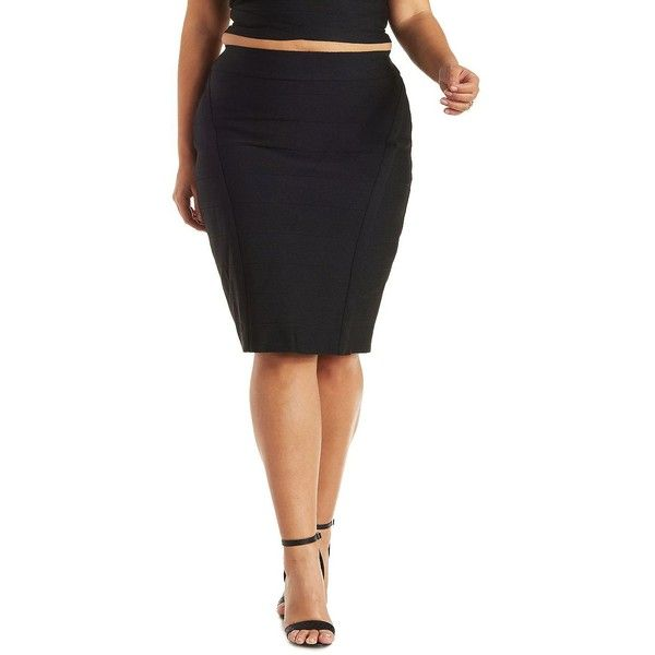Charlotte Russe Plus Size Black Bandage Bodycon Skirt by Charlotte... ($26) ❤ liked on Polyvore featuring plus size fashion, plus size clothing, plus size skirts, black, knee length pencil skirt, black pencil skirt, pencil skirt and bandage skirt