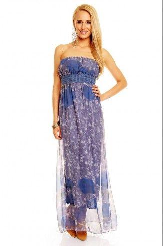 Στράπλες φλοράλ μάξι φόρεμα - Μωβ Μπλε