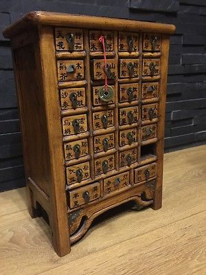 ANTIQUE CHINESE WOOD APOTHECARY MEDICINE  CHEST