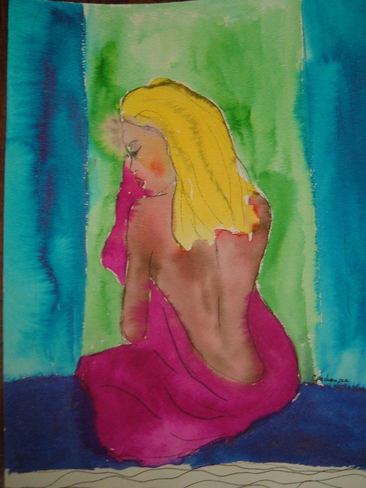 enjoying her bath - watercolour