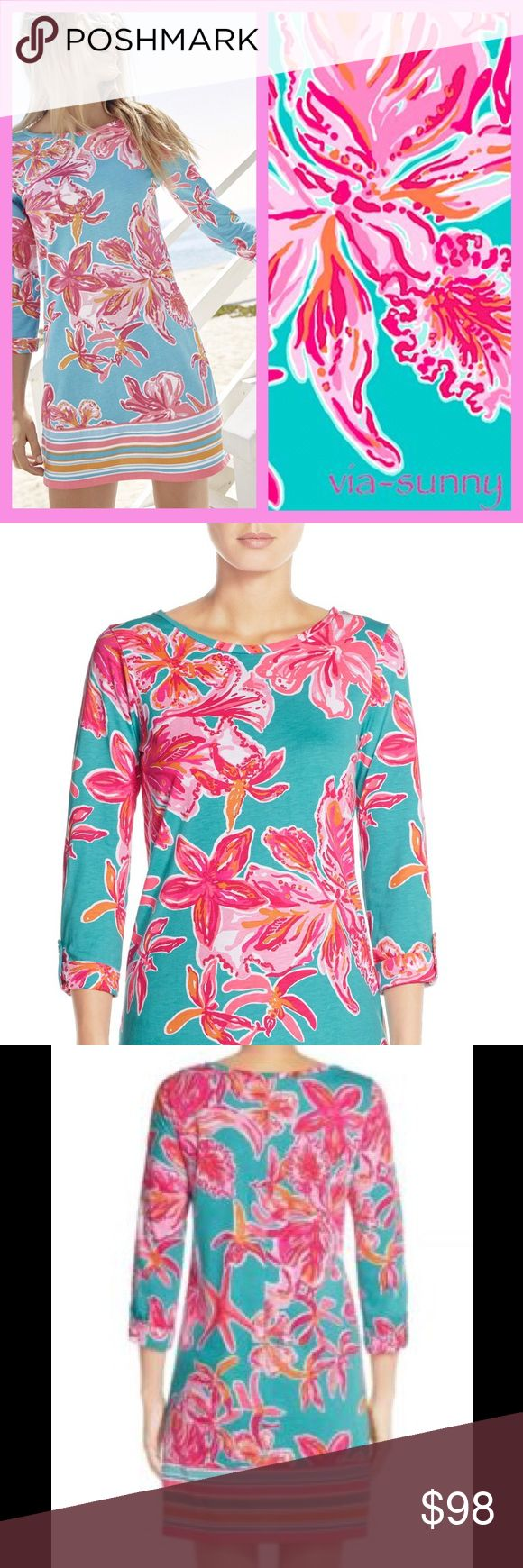 """Nwt Lilly Pulitzer linden in via sunny Gorgeous Linden t-shirt dress by Lilly Pulitzer in """"via sunny"""" print size large. This print was exclusively sold by Nordstrom and currently is out of stock. Vibrant and beautiful print will allow you to stand out in any occasion. Small details such as gold buttons along the sleeve. Will make a great addition to your wardrobe for any fan of Lilly. 100% cotton, pulls over head, hits slightly above knee. Don't miss out on this stunner! Lilly Pulitzer…"""