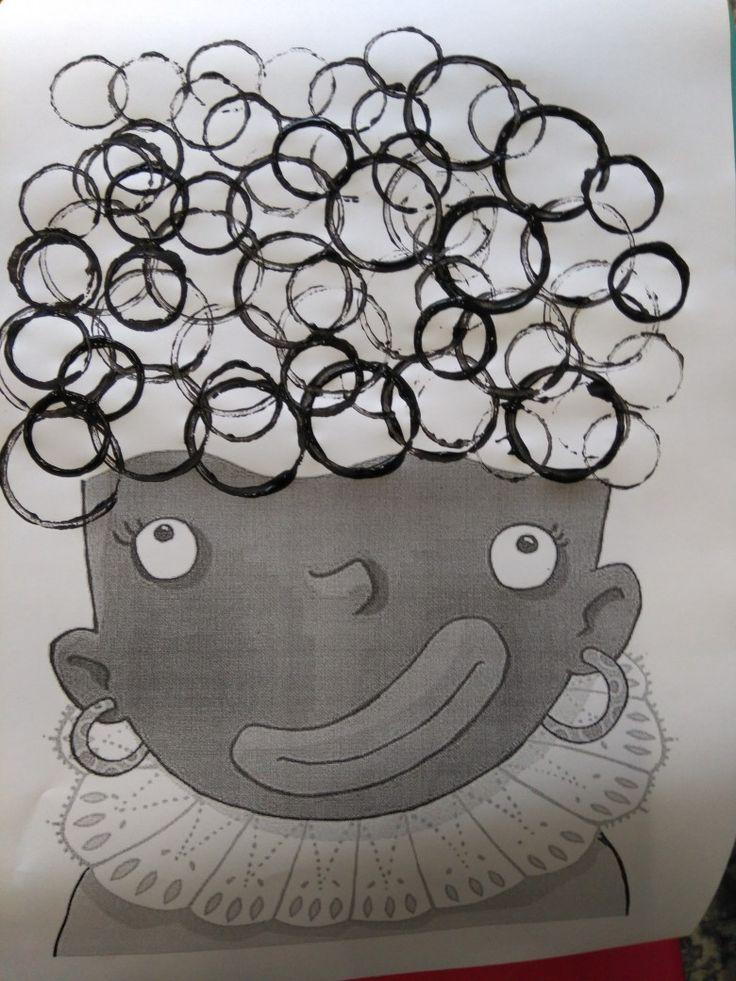 Krullen van zwarte Piet stempelen met rolletjes *liestr*