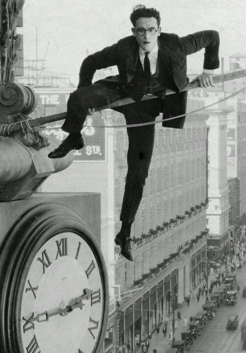 Harold Lloyd in Safety Last. This part of the movie made me so nervous! He did his own stunts with one hand. The other was partially blown off by an accident with what was thought to be a prop bomb.
