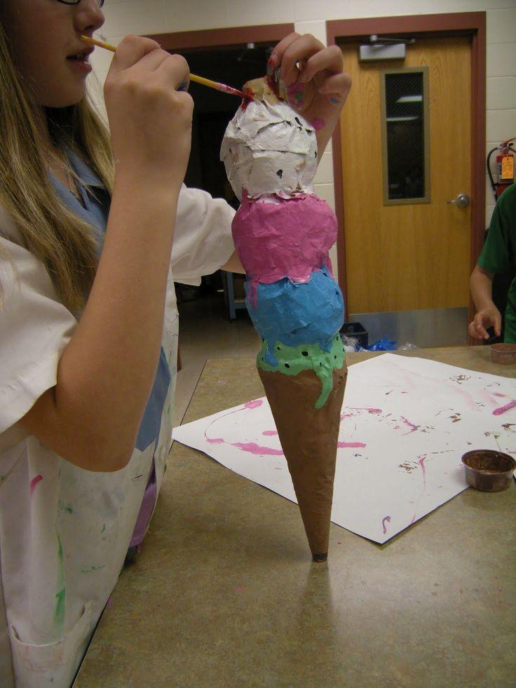 Papier mache ice cream cones gr 8 middle school art for Paper mache activities
