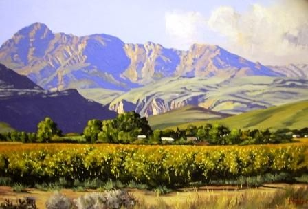 Oil Painting - Autumn Vineyard Ladismith Cape by Ted Hoefsloot