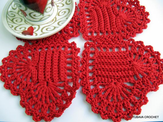 "Crochet Pattern ""Red Heart Coaster"", Valentine Day Gift Easy Tutorial Pattern, Instant Download PDF File Lyubava Crochet Pattern number 38"