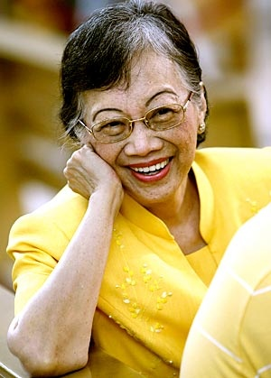 "Corazon Aquino, president of the Philippines who restored democracy there in 1985. Inspiring ""housewife""."
