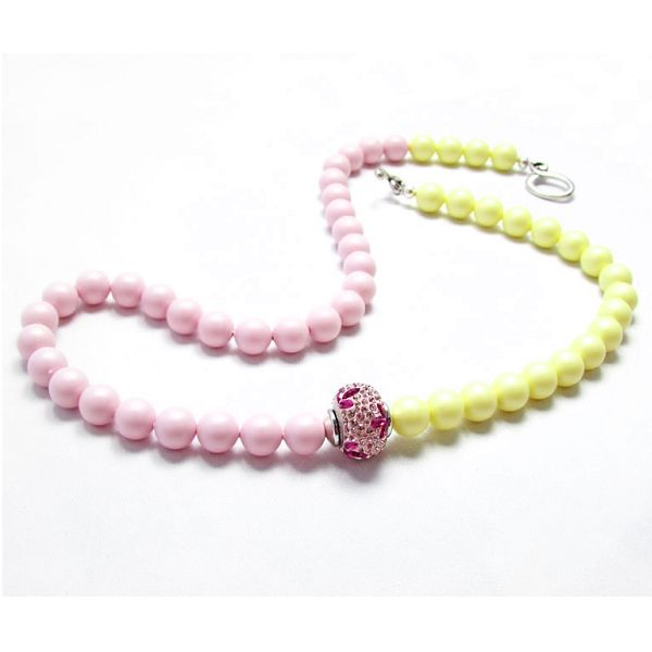 Nyaklánc inspiráció #Swarovski Crystal Round gyöngyökből #Pastel #Rose és Pastel #Yellow színekben.
