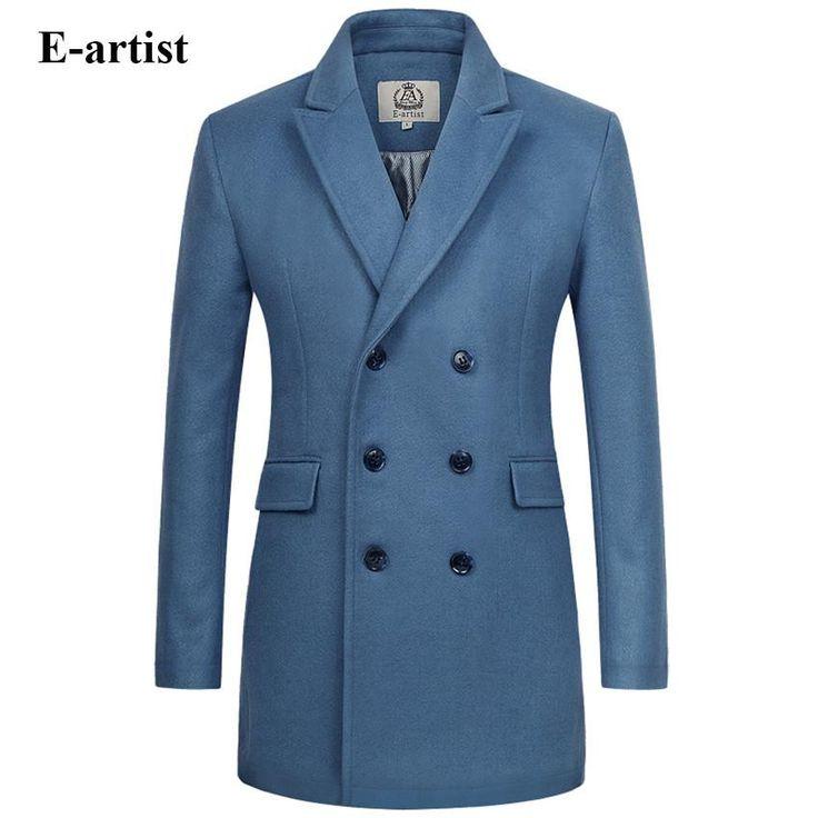 E-Artist Mens Double Breasted Wool Blend 3/4 Length Overcoat - Lake Blue