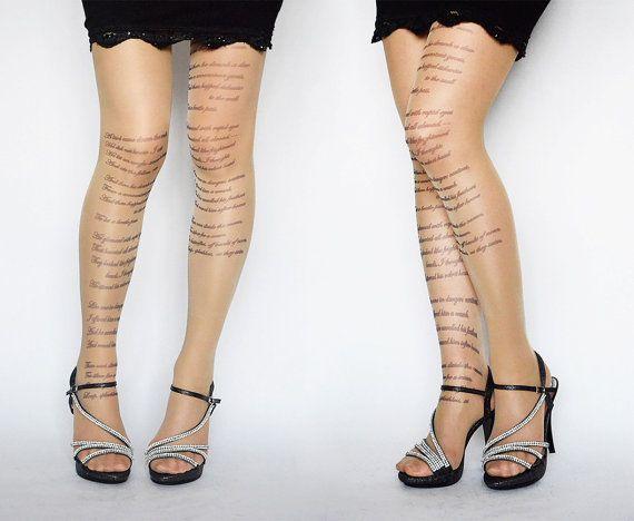EMILY DICKINSON poema tatuaggio collant collant di di colinedesign