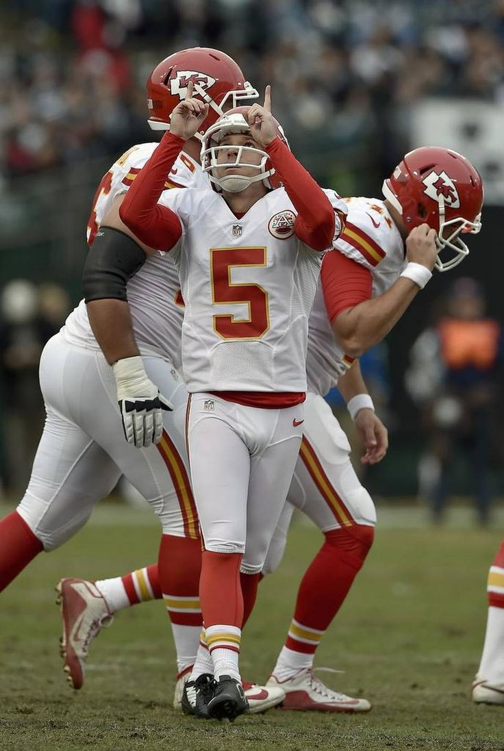 Kansas City Chiefs kicker Cairo Santos (5) celebrates his extra point kick in the first quarter during Sunday's football game against the Oakland Raiders on December 6, 2015 at O.co Coliseum in Oakland, Ca.