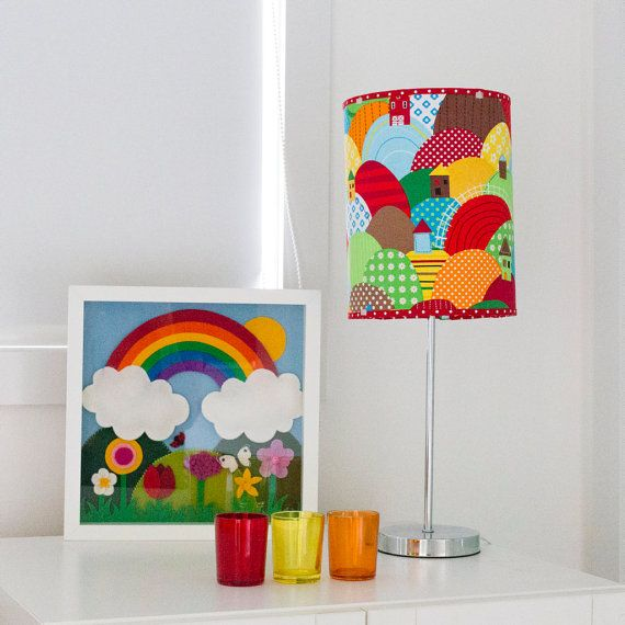 Colorful rainbow hills barrel lampshade for children's room from Babes in the Woods. Available to buy on etsy.com
