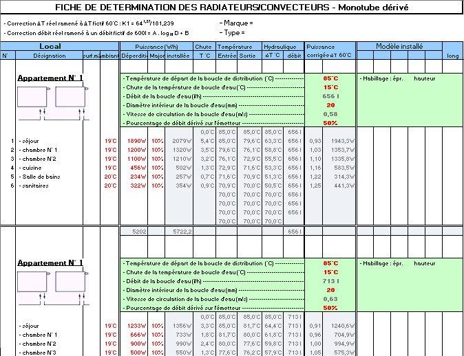 programme de calcul chauffage monotube convecteurs drivation - Calcul Puissance Radiateur Salle De Bain