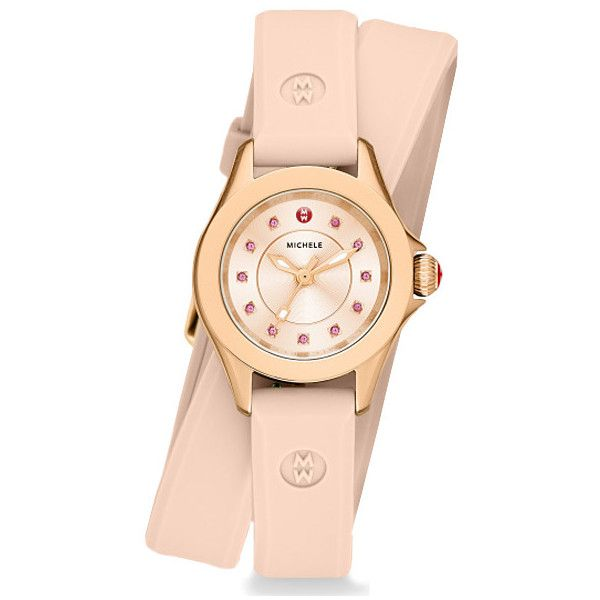 Michele Cape Mini Rose Gold Tone Blush Pink Wrap Watch ($345) ❤ liked on Polyvore featuring jewelry, watches, pink jewelry, stainless steel wrist watch, wrap watches, wraparound watches and stainless steel watches