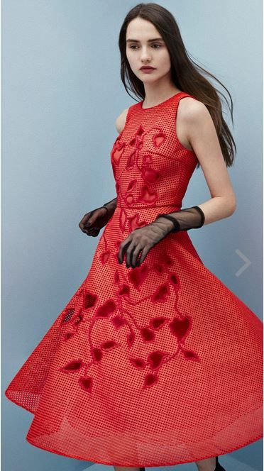 SACHIN&BABI Tonbo Dress Floral cut-work on coated basketweave. Also comes in black.