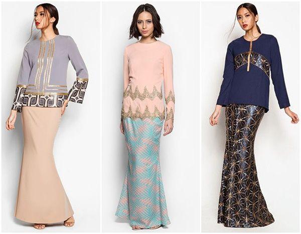 Three baju kurung designs with golden detailing